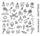 hand drawn happy birthday set | Shutterstock .eps vector #266575061
