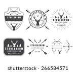 set of vintage hunting labels ... | Shutterstock .eps vector #266584571