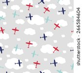 baby boy seamless pattern with... | Shutterstock .eps vector #266584604