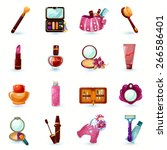 woman beauty cosmetics and make ... | Shutterstock .eps vector #266586401