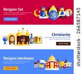 religion horizontal banner set... | Shutterstock .eps vector #266587145