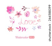 set of watercolor floral... | Shutterstock .eps vector #266588399
