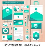 white corporate id template... | Shutterstock .eps vector #266591171