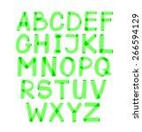 alphabet written green marker.... | Shutterstock .eps vector #266594129