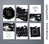 template. set of creative ink... | Shutterstock .eps vector #266595695