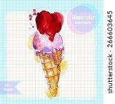 watercolor cone ice cream with... | Shutterstock .eps vector #266603645