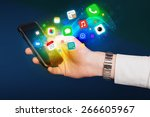hand holding smartphone with... | Shutterstock . vector #266605967