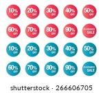 set of percent discount  sale... | Shutterstock .eps vector #266606705