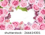 Stock photo tulips lilac and roses flowers background isolated on white with sample text 266614301
