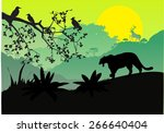 sunset and silhouettes of... | Shutterstock .eps vector #266640404