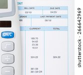calculator and utility bill... | Shutterstock . vector #266642969