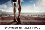 sports background. runner feet... | Shutterstock . vector #266644979