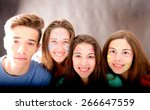 group of friends with faces... | Shutterstock . vector #266647559