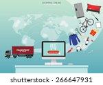 e commerce background.... | Shutterstock .eps vector #266647931