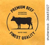premium beef label with grunge... | Shutterstock .eps vector #266651027