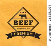 Premium Beef Label With Grunge...