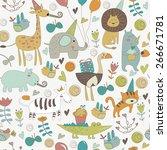 seamless birthday background... | Shutterstock .eps vector #266671781
