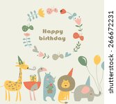 birthday card with africa... | Shutterstock .eps vector #266672231