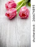 Stock photo pink tulips on the wooden background 266674895