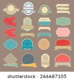 set of retro stickers and... | Shutterstock .eps vector #266687105