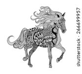 Stock vector zentangle stylized black horse hand drawn doodle vector illustration sketch for tattoo or 266699957