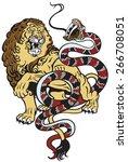 lion and snake fighting  ... | Shutterstock .eps vector #266708051