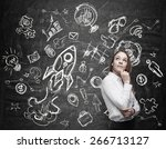 young woman is thinking about... | Shutterstock . vector #266713127