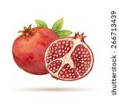 garnet  hand drawn watercolor ... | Shutterstock .eps vector #266713439