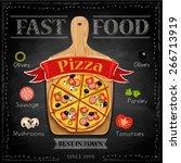fast food menu    pizza  vector ... | Shutterstock .eps vector #266713919