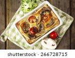quiche lorraine served in white ... | Shutterstock . vector #266728715