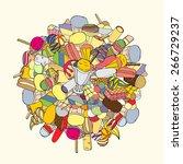 set of ice cream  hand drawn ... | Shutterstock .eps vector #266729237