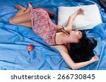 young woman waking up in the... | Shutterstock . vector #266730845