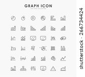 36 graph and diagram line icons