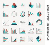 charts diagrams and graphs flat ... | Shutterstock .eps vector #266734505