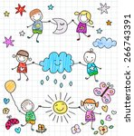 happy kids playing | Shutterstock .eps vector #266743391