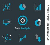 data analytic icons set. chart... | Shutterstock .eps vector #266745677