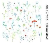 vector set of grass elements... | Shutterstock .eps vector #266746409