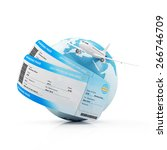 Air Travel Concept. Earth Globe with Airline Boarding Pass Tickets and Flying Passenger Airplane isolated on white background. ( Elements of this image furnished by NASA ) - stock photo