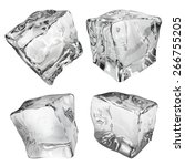 set of four ice cubes in gray... | Shutterstock . vector #266755205
