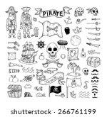 Doodle Pirate Elememts  Vecto...