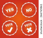 vote badges and check mark... | Shutterstock .eps vector #266765861