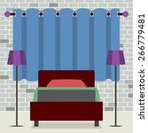 flat design single bed with... | Shutterstock .eps vector #266779481