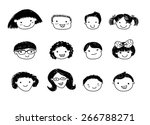 group of sketch kids face set | Shutterstock .eps vector #266788271