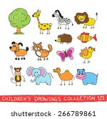 funny zoo in child hand drawing ... | Shutterstock .eps vector #266789861