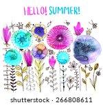 watercolor floral composition.... | Shutterstock .eps vector #266808611