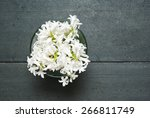 White Hyacinth Flowers On Blac...