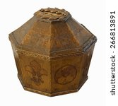 Small photo of Ancient sacred alms box made of oak wood (height approx. 40 cm).