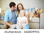 happy couple and their daughter ... | Shutterstock . vector #266839931