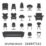 Icon Set Of Silhouette Modern...