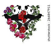 panda bear. pistol. flowers.... | Shutterstock .eps vector #266847911